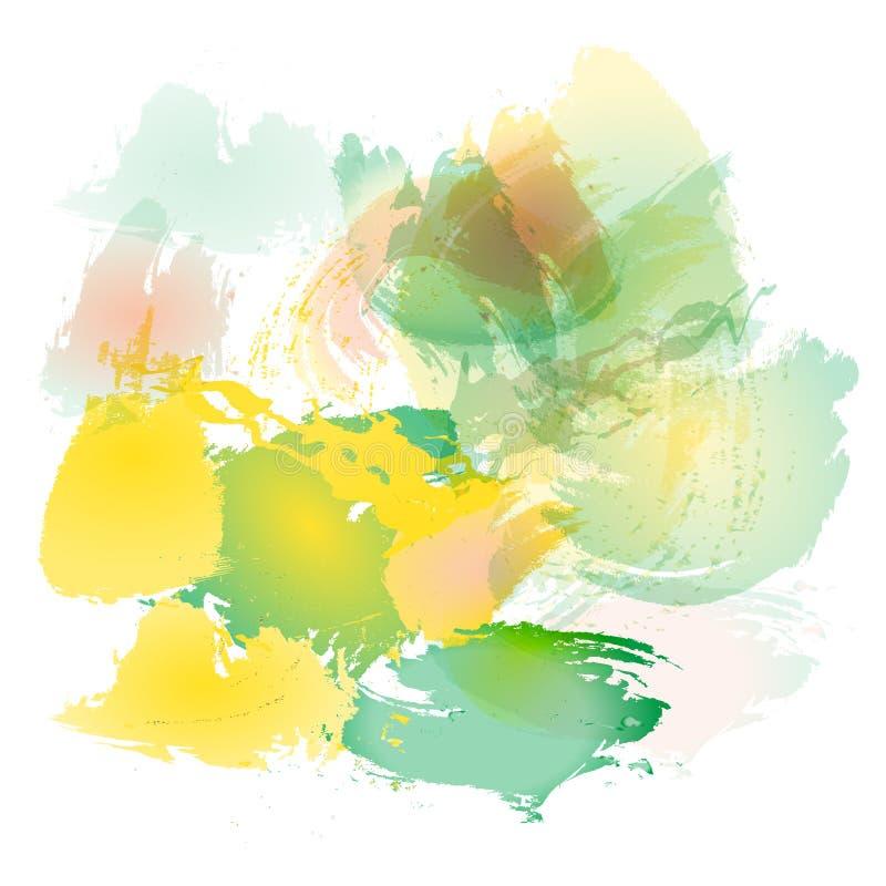 Efterföljd av slaglängder med en vattenfärgborste av röda, gula och gröna färger på en vitbok, original borstar bakgrund vektor illustrationer