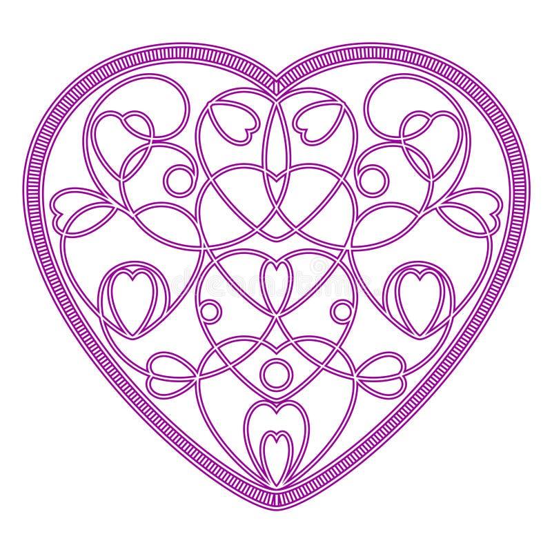 Efterföljd broderad modell av hjärtor i form av hjärta royaltyfri bild