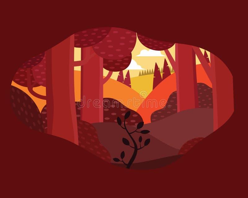 eftermiddaglandskapillustration i plan stil med tältet, lägereld, berg, skog royaltyfri illustrationer