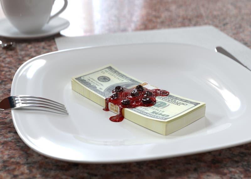 Efterrätt av pengar stock illustrationer