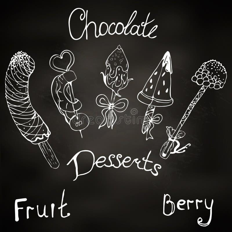 Efterrätt frukt på en pinne i choklad illustration fondue djupfrysta frukter, jordgubbar, hallon, ananas, banan, watermelo vektor illustrationer