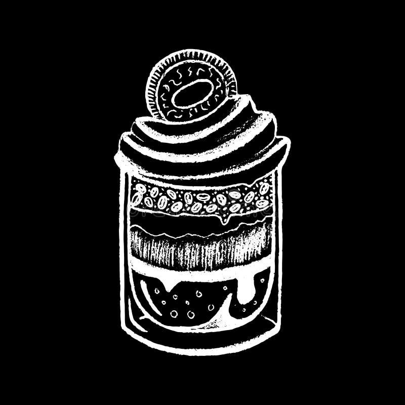 Efterrätt i glass vit krita på svart svart tavlaillustration Tiramisuefterrätt i exponeringsglas royaltyfri illustrationer