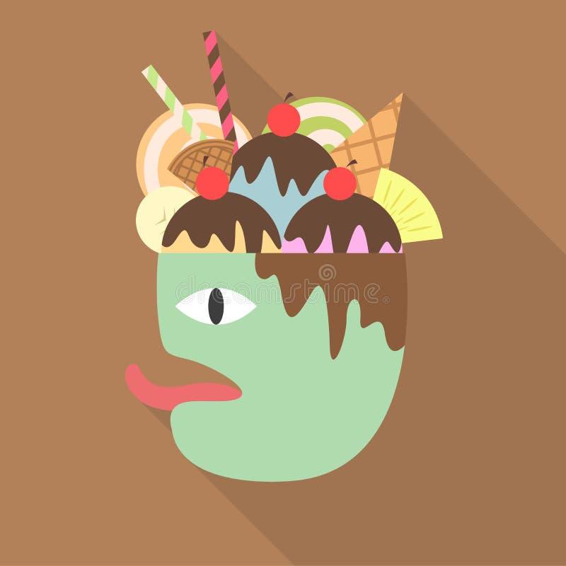 Efterrätt på huvudet av det hungriga mankonstverket - vektor royaltyfri illustrationer