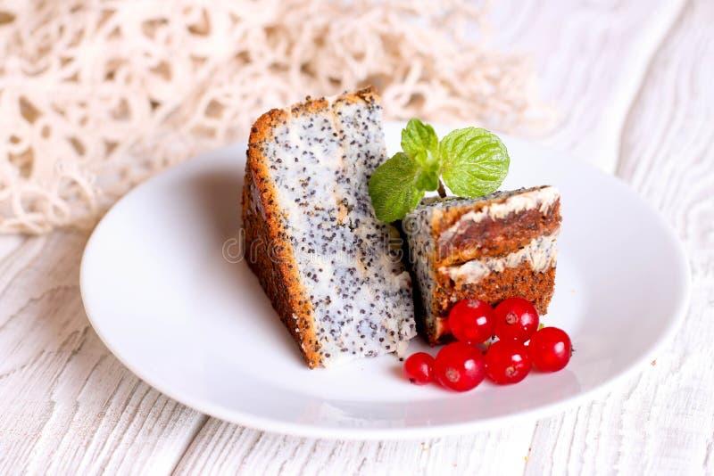 Efterrätt - Poppy Seed Cake med den röda vinbäret och mintkaramellen royaltyfria foton