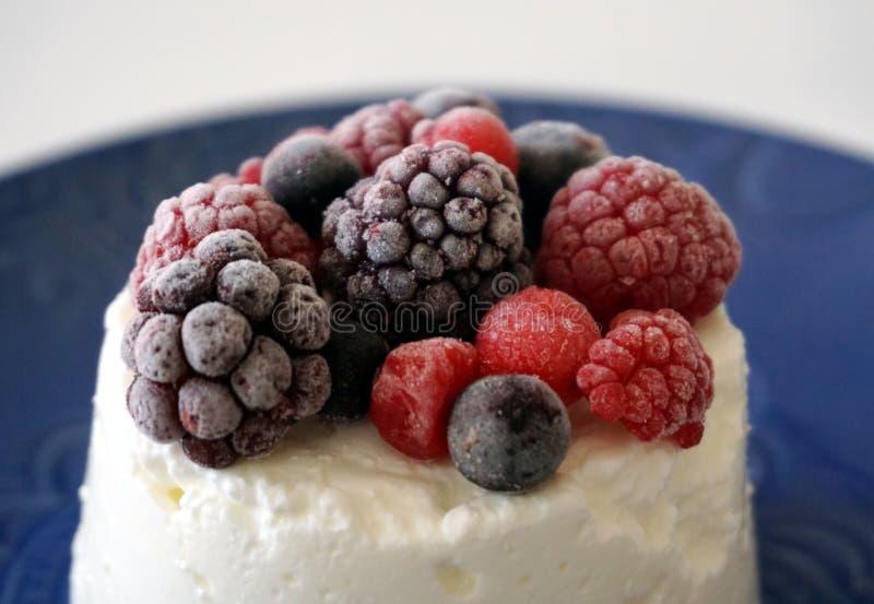 Efterrätt som göras från hallon, blåbär, björnbär, vinbäret och andra skogfrukter på den vita krämiga osten arkivbild