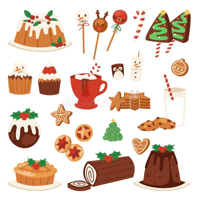Efterrätter för julmatvektor semestrar den söta matställen för garneringxmas-familjen stock illustrationer