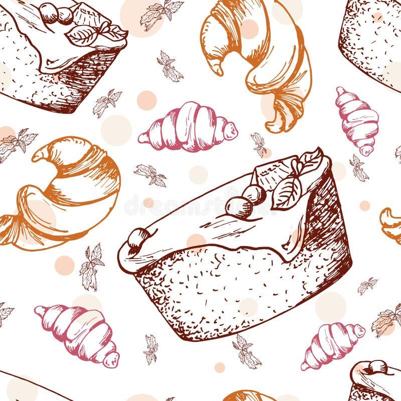 efterrätter mönsan seamless Hand dragen nisse, giffel, bakelse vatten för vektor för ny illustration för design ditt naturligt stock illustrationer