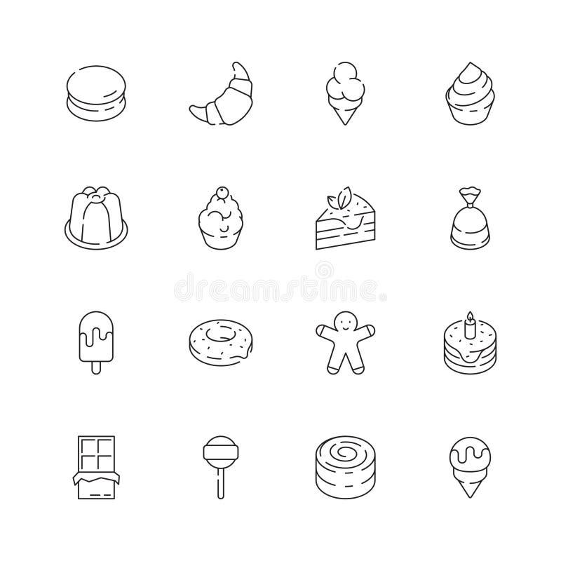 Efterrättsymbol Gelé för chokladgodisen bakar ihop linjen symbol för den läckra vektorn för mat för glasspartiet den tunna royaltyfri illustrationer