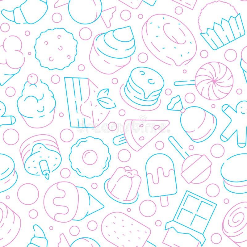 Efterr?ttmodell Kex för kakor för läcker mat för ungar göra gelé av söta bakgrund för vektorn för glassklubbamuffin sömlös vektor illustrationer