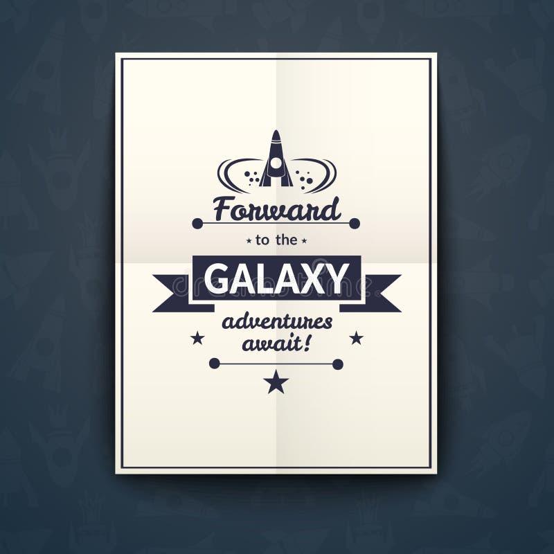Eftersänd till galaxaffischen, vektorillustration stock illustrationer