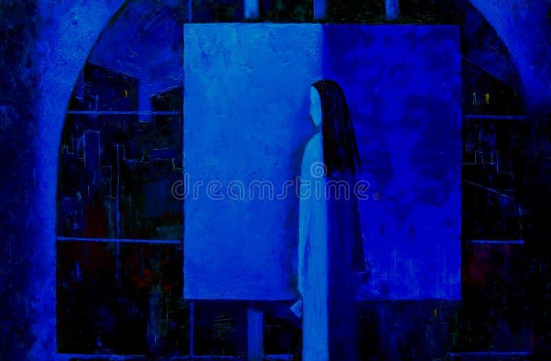 Eftertänksam flicka-konstnär i studioanseendet på staffli med kanfasen, olje- målning stock illustrationer