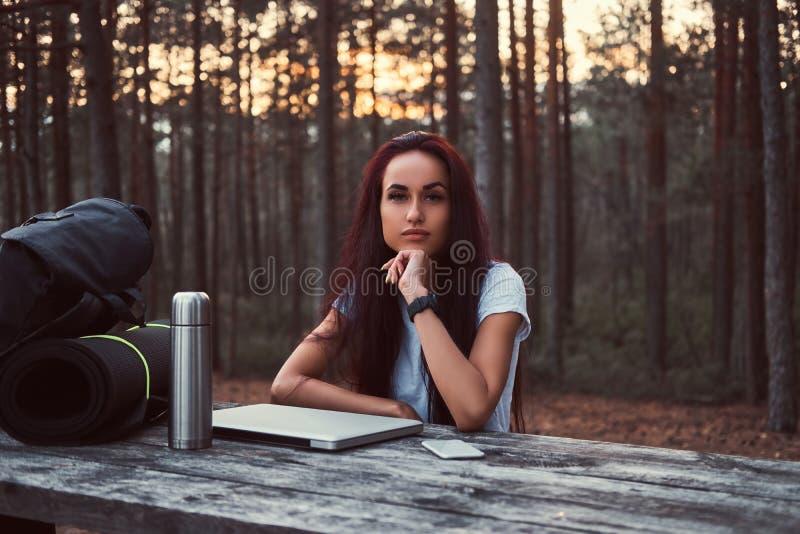 Eftertänksam hipsterflicka i den vita skjortan som ser kameran, medan sitta på en träbänk med en öppen bärbar dator i royaltyfri bild