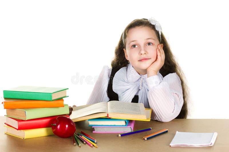 eftertänksam schoolgirl royaltyfri foto