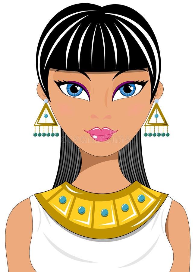 Egípcio bonito do retrato da mulher ilustração do vetor