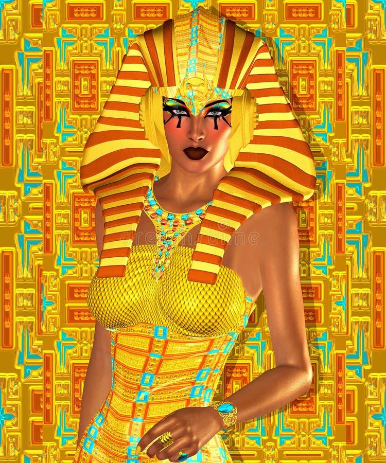 Egípcio, Cleopatra em nosso estilo digital moderno da arte, fim acima ilustração do vetor