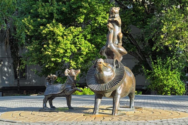` Egípcio da pirâmide do ` da escultura em Taganrog, Rússia imagem de stock