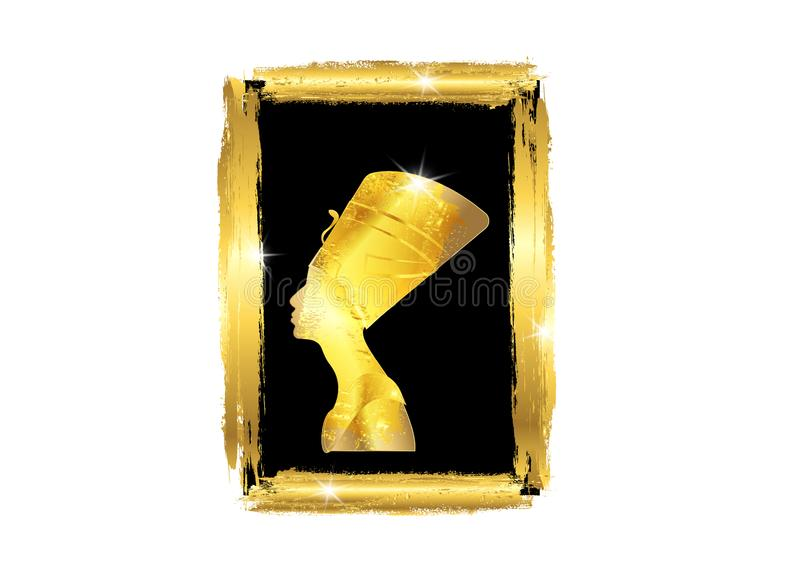 Egyptian profile with golden frame, Old Egyptian silhouette icon. Queen Nefertiti. Vector portrait Profile with gold jewels vector illustration