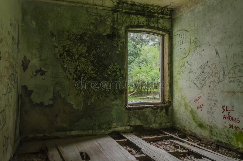 Inside view of abandoned mansion, San Francisco Castle. Egaña, Buenos Aires / Argentina; Sept 21, 2014: Interior view of San Francisco Castle or Egaña royalty free stock image
