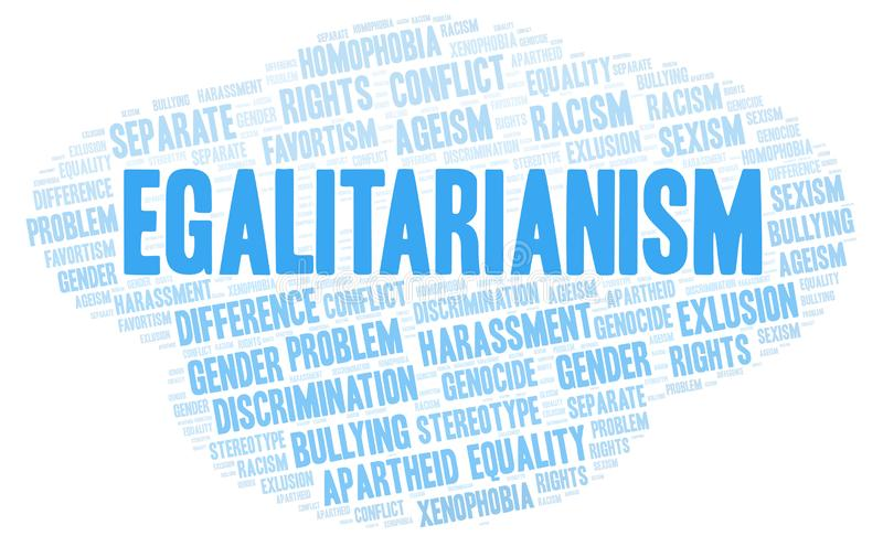 Egalitarianism - type of discrimination - word cloud. Wordcloud made with text only vector illustration