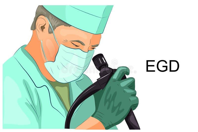 EGD, diagnosis de la úlcera gástrica ilustración del vector