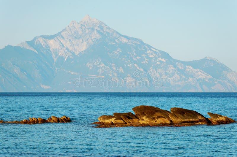 Egeïsche Overzees en Berg Athos stock fotografie