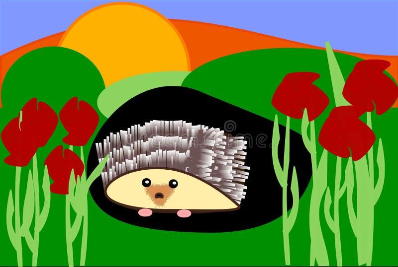 Egel in een Gat in een Zonsondergang stock illustratie