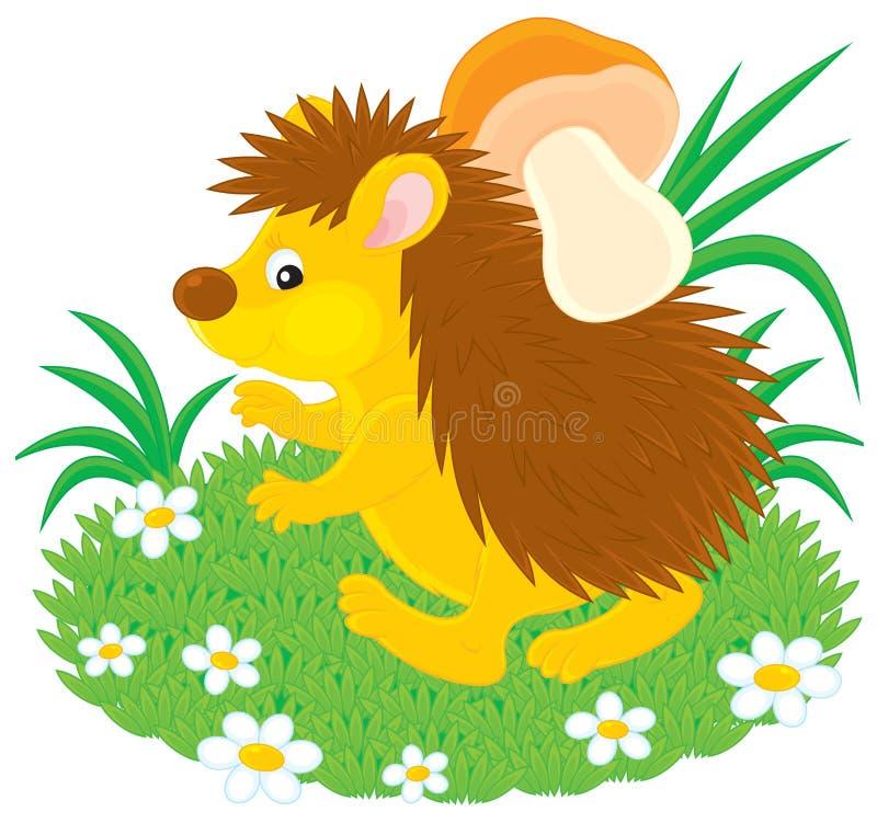 Egel met een paddestoel stock illustratie