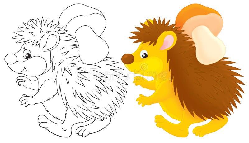 Egel met een paddestoel royalty-vrije illustratie