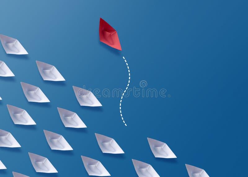 Egenart är det olika begreppet, det pappers- fartyget för röd origami och vita fartyg royaltyfri fotografi