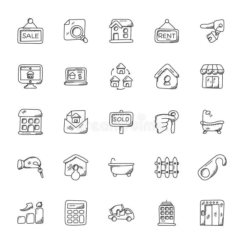 Egenskap och uppsättning för Real Estate vektorsymboler royaltyfri illustrationer