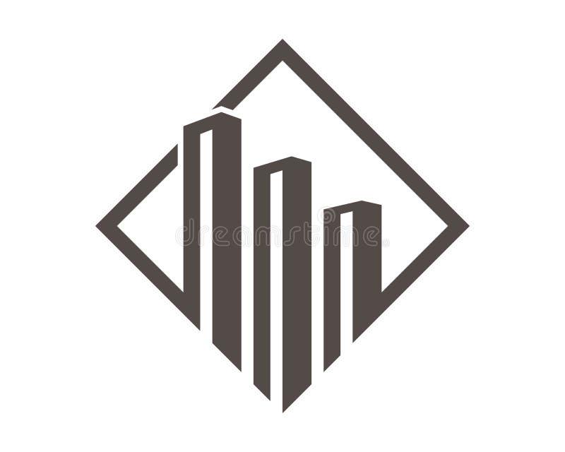 Egenskaps- och konstruktionslogodesign stock illustrationer