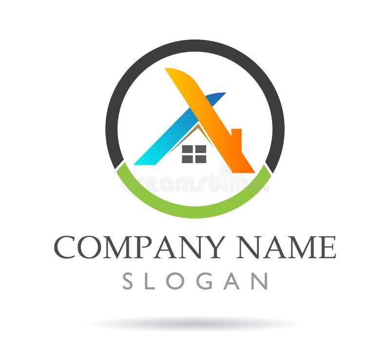 Egenskaps- och konstruktionslogoer, hem- logo med begreppet för ditt företag stock illustrationer