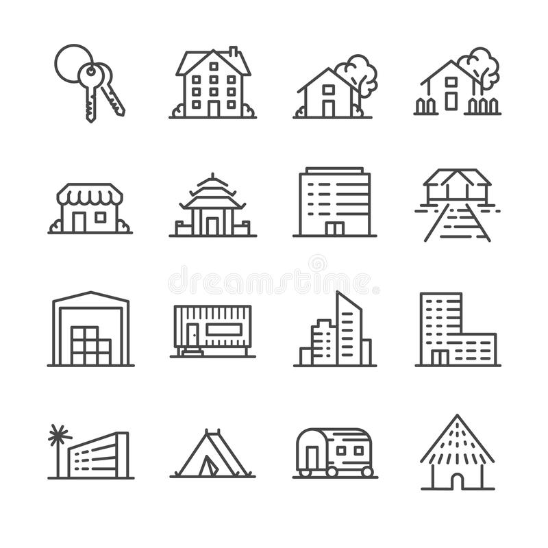 Egenskapssymbolsuppsättning stock illustrationer