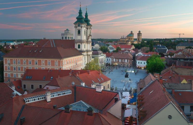 Eger Ungheria, vista del castello fotografie stock libere da diritti