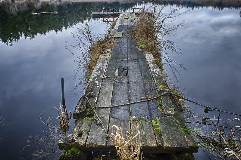 Egg湖的木船坞 免版税库存照片