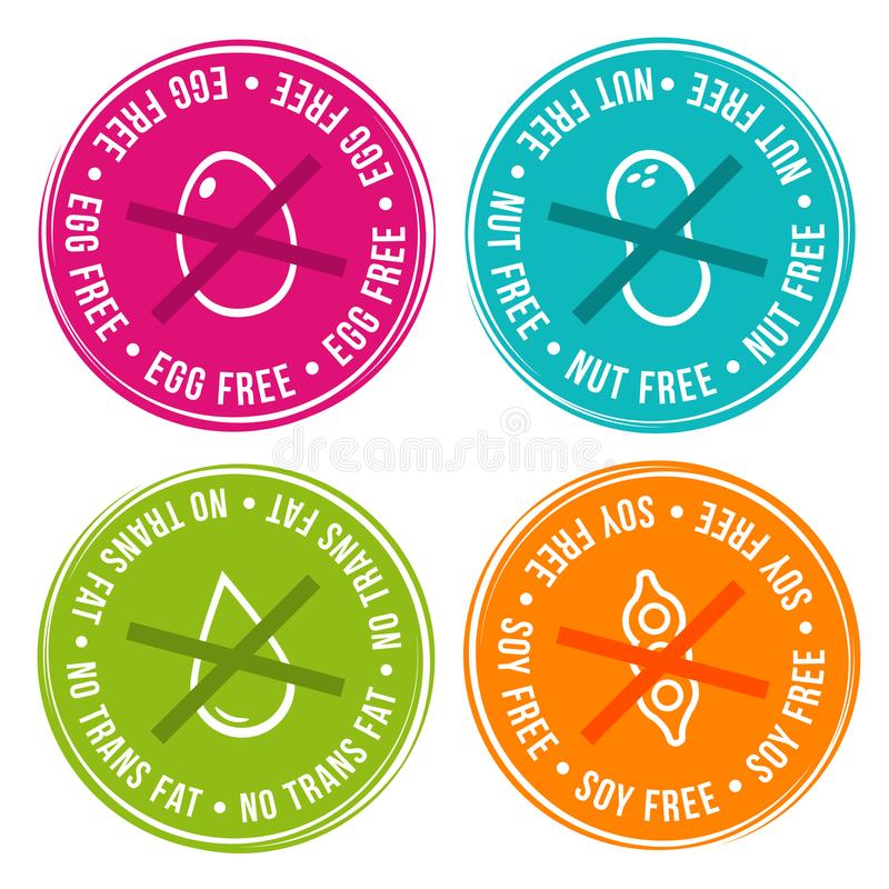 Egg свободно, гайка свободная, Transfat свободный и значки сои свободные бесплатная иллюстрация