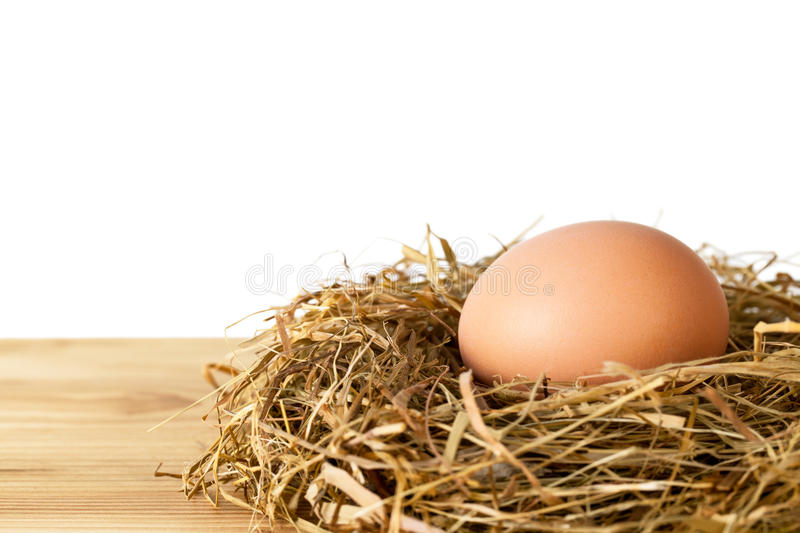 Egg. In hay nest on wooden table against white background, isolated royalty free stock photography