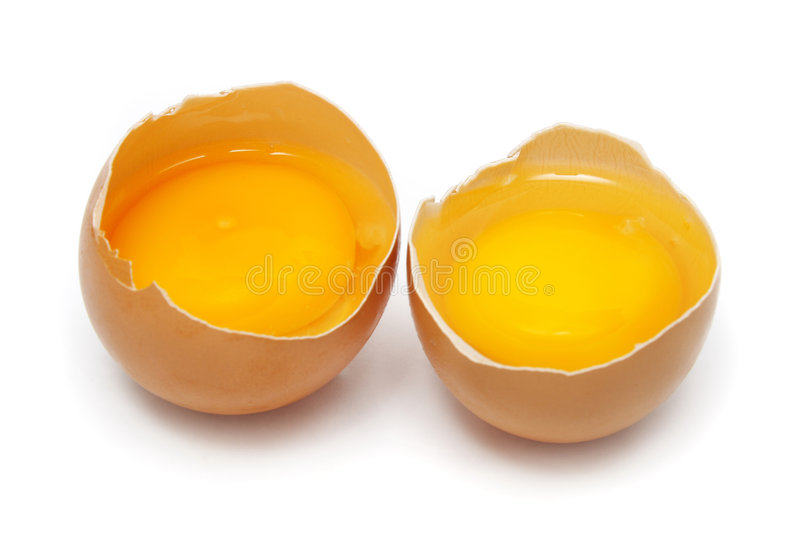 Egg. Two raw eggs tear into half with yolk and albumin royalty free stock image