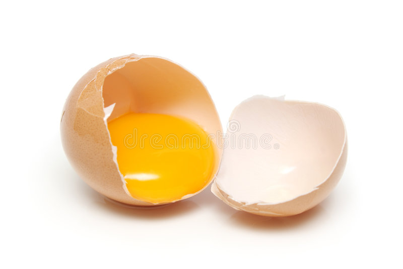 Egg. A egg tear into half with yolk and albumin royalty free stock photo