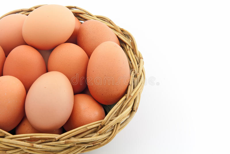 Egg in a basket royalty free stock image