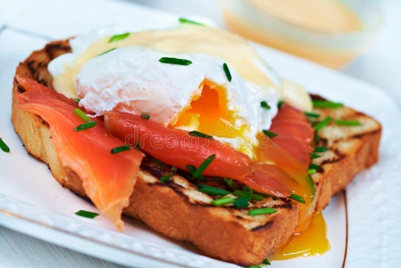 Egg benedict for breakfast stock photography