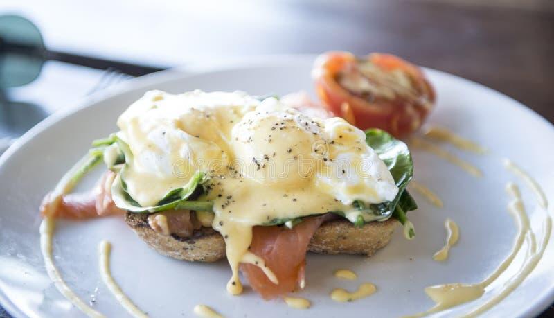 Egg Benedict with Smoke salmon stock images