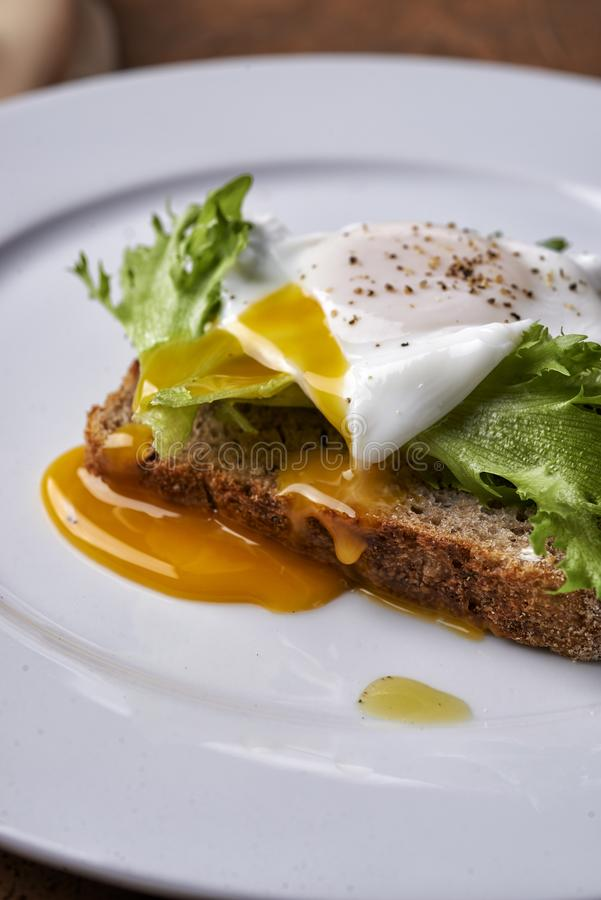 Egg benedict toast stock images