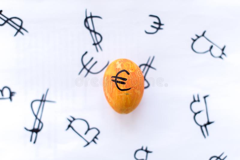 Egg with bitcoin on a white background.  stock photo