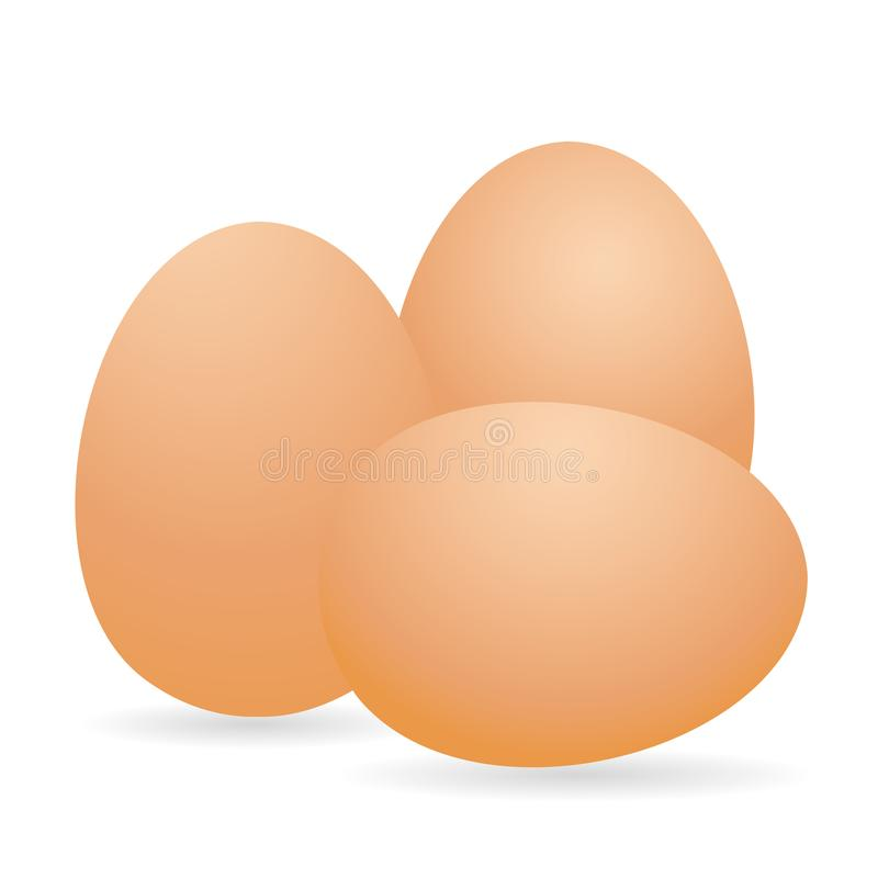 Egg. Brown 3D egg chicken. Isolated on white background. Vector vector illustration