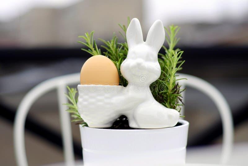 Egg bunny and rosemary 3 royalty free stock photography