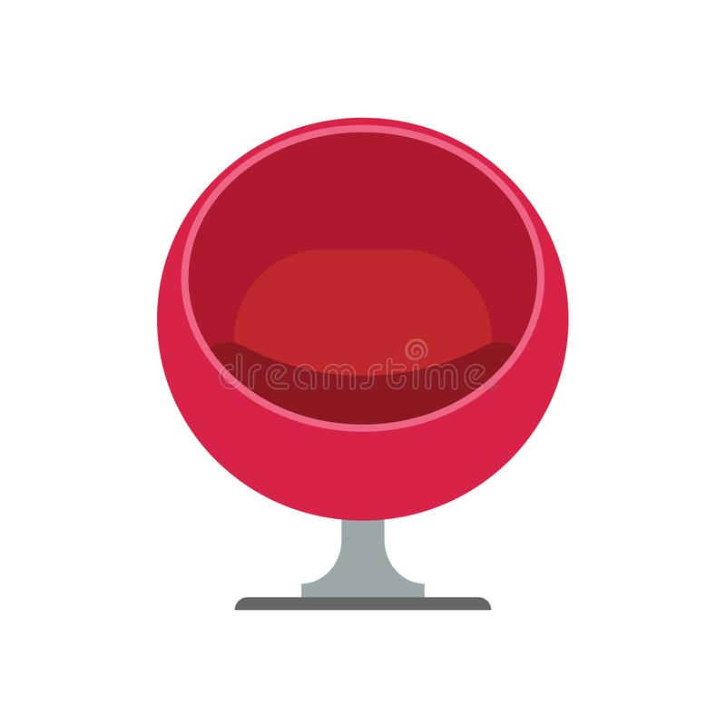 Egg chair red furniture design interior illustration. Armchair vector icon contemporary decoration style. Furnishing ball.  vector illustration