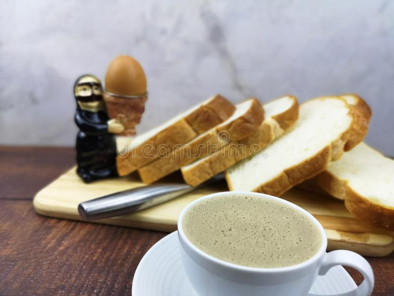 Egg and coffee with bread for background royalty free stock photos
