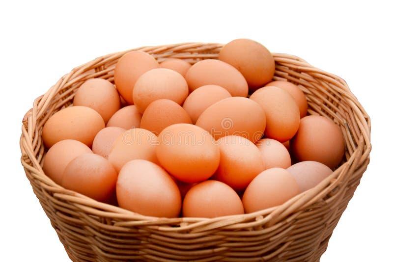 Egg a coleção na cesta isolada no fundo branco fotografia de stock