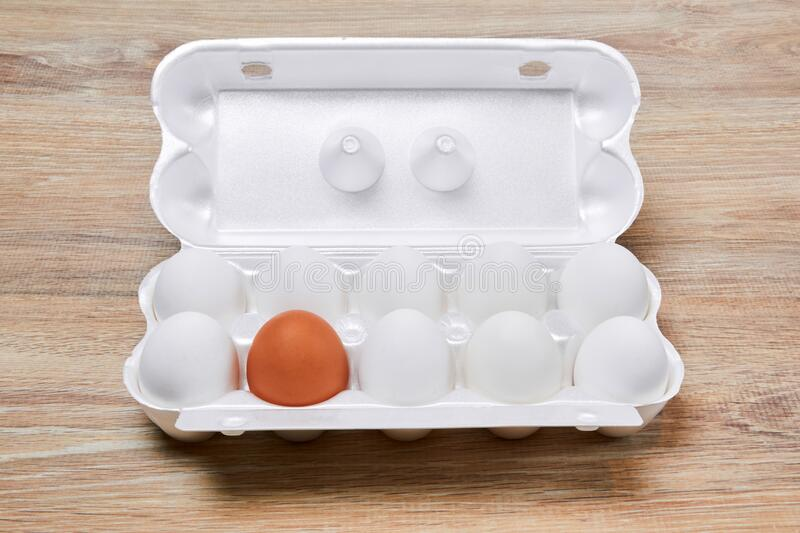 Egg crate with nine white eggs and one brown on a wooden table surface. Nine white eggs and one brown are packed together in one egg crate on a wooden table stock photography